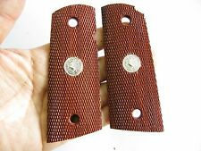 NEW CHECKERED HARD WOOD GRIP COLT OFFICER 1911 COMPACT SIZE