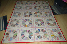 "Dresden Plate Quilt NO Batting 20 Squares Hand & Machine Sewn Feed Sack 68""x90"""
