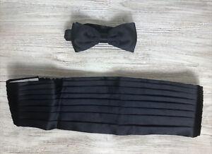 Brioni Cummerbund and Bow Tie Set Handmade in Italy Black 100% Silk NEW