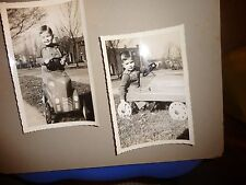 vtg 2 real snap shoot photo`s  young boy in peddle car 1941 name on back 6 x 4