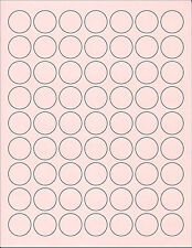 6 Sheets 1 Inch Round Blank Pink Stickers Labels Custom! For Favors~Wedding~Baby