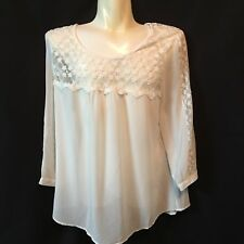 Perch By Blu Pepper 1XL Blouse Sheer NWT Ivory Sexy Career Office Work