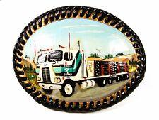 Vintage Dipinto a Mano Camion Cintura in pelle Fibbia di Bolle Artigianato 71916