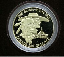 1989 Gold $100 Canada Proof Sainte-Marie in Box with Certificate and Case