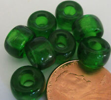 32 Czech Glass Emerald Green Foil-Lined Large Pony Beads 9mm x 6mm