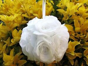 """1pc Wedding Flower Kissing Ball 6"""" Poly Silk/White/Artificial Rose FB-Pick Color"""