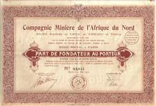 Africa France 1923 Lead Mining Company North Africa founder Uncancelled coupons