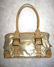 KATHY VAN ZEELAND Shimmer Gold Belted Buckle Studded Satchel/Shoulder Bag Size M