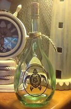 Etched Brandy Bottle, Fancy Sea Turtle