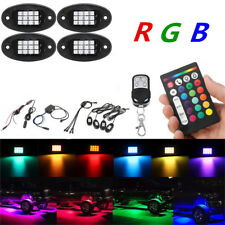 4x RGB LED Car Underbody Light Fender Mount Ambient Lamp Universal 12V + Remote