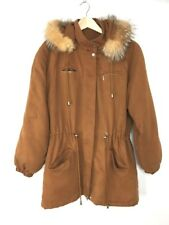 Overland Suede With Real Fur Trim Insulated Jacket Coat - Womens SMALL