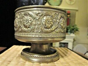 Vintage Solid Brass Bowl Pedestal Base Dish Planter Centerpiece Embossed Decor