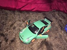 KINSMART MATT 1/36 SCALE DIECAST GREEN PORSCHE 911 GT3RS WITH OPENING DOORS NEW