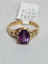 🎁 Rich, Dark, Deep Amethyst Ring 18K Yellow Gold Size 6.25 Diamond Accents
