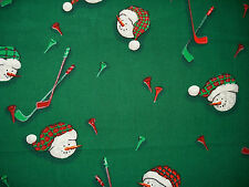 Cotton Quilt Fabric Christmas Snowman Hockey Green BTHY