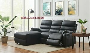 Black Corner Sofa Faux Leather Recliner Couch 3 Seater With Chaise Suite Settee