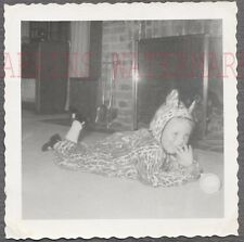 Vintage 1953 Photo Cute Girl in Leopard Halloween Costume Home Interior 744532