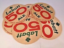 LOT OF 2 SIDED 1960s CANADA Labatt 50 Ale 4 inch coaster OLDER SET OF 6 MAN CAVE
