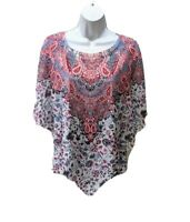 Live And Let Live Hankie Top Womens XL Dolman Sleeve 34 Sleeve Paisley Pullover