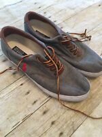 Polo Ralph Lauren Vaughn Grey Chambray Canvas Fashion Sneakers 11D Laces Shoes