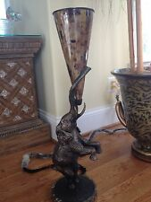 Maitland Smith Bronze Finished Cast Brass Elephant Torchere Penshell Table Lamp