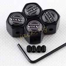 Antitheft BLACK Car Auto Wheel Tire Tyre Valve Stem Air Cap Set FOR S60 S80 V40