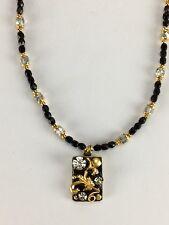 Michal Golan 24K gold Black & crystal Fancy necklace beaded Handmade