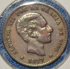 Spanien 5 Centimos 1877  König Alfonso XII