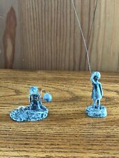 2 Wlliam Lattimer Lead Sculptures Boy W/Balloon - Girl W/Kite