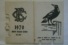 Collingwood Magpies Vintage 1970 AFL-VFL Football Members Season Ticket Card
