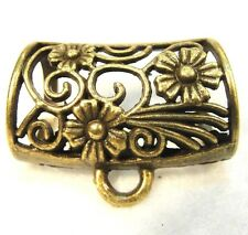 5Pcs. Large Tibetan Antique Bronze FLOWER Design SCARF BAILS Findings SBA99
