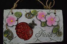Ceramic Faith Wall Plaque Sign Stone Look Flower Lady Bug Garden Gray #131