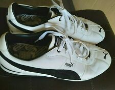 PUMA Turin Mens Black White Leather Lace Up Running Shoes Size 11