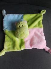 doudou plat hippopotame vert rose bleu BIESSE BABY