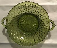 Vintage Depression Glass - Candy / Relish Dish With Handles - Green Glass