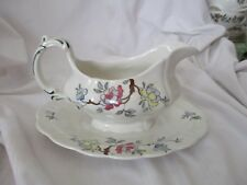 Booths Chinese Tree gravy boat attached underplate 1940's A8001 pink yellow grn