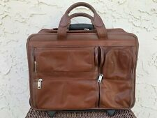 McKlein Brown Leather Detachable 2 in1 Wheeled Briefcase Laptop Computer Bag 17""