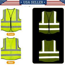 Reflective Safety Vest Reflective Strip Pocket Zipper Front Sleeveless Adult Top