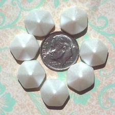 (6) Czech 2-hole Pyramid Hexagon Beads - Pastel Matte White CPH2259