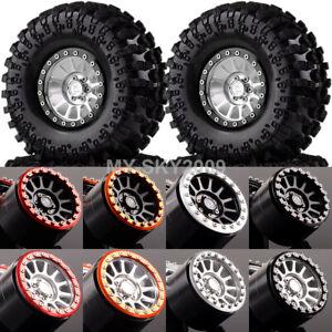 "4P Aluminum 2.2"" Beadlock Wheels Rim & TIRES Fits RC 1/10 Rock Crawler 2022-3021"