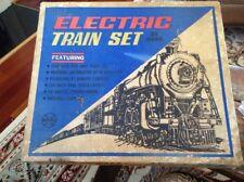 "Vintage Marx Electric Train Set Engine (4) Cars 120"" Oval Layout"