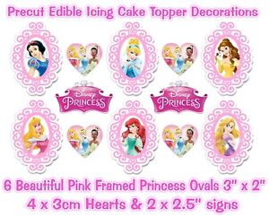DISNEY PRINCESS EDIBLE *PRECUT* ICING PINK FRAMED OVALS CAKE TOPPERS & EXTRA'S
