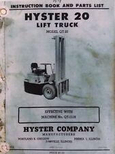 Hyster 20 Lift Truck Forklift Qt-1118 Owner & Parts Manual Fork Industrial Farm