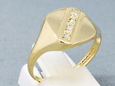 "STUNNING 9CT YELLOW GOLD ""DIAMOND"" MAN'S SIGNET DRESS RING    SIZE ""S½""  1532"