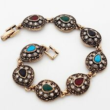 Vintage Eight Multi-Color Teardrop Cubic Zircon Gold Plated 20 cm Lady Bracelet