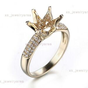 9MM ROUND CUT SOLID 10K YELLOW GOLD SEMI MOUNT .4CT NATURAL DIAMONDS FINE RING