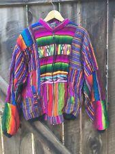 Vtg 90s Guatemala Jacket Striped Hippie Phish Festival Color Block Zip Up Sz XL