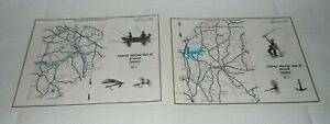 2 1970 PENNA. FISH COMMISSION FISHING-BOATING MAPS OF BEAVER & BUTLER COUNTY!!!