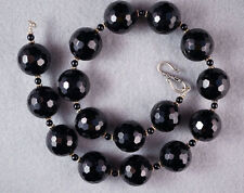 Black Facetted Round Glass Bead Necklace w Bali-Silver Findings