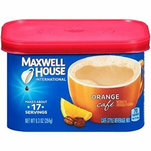 Maxwell House International Orange Cafe Instant Coffee 9.3oz Canisters Pack of 4
